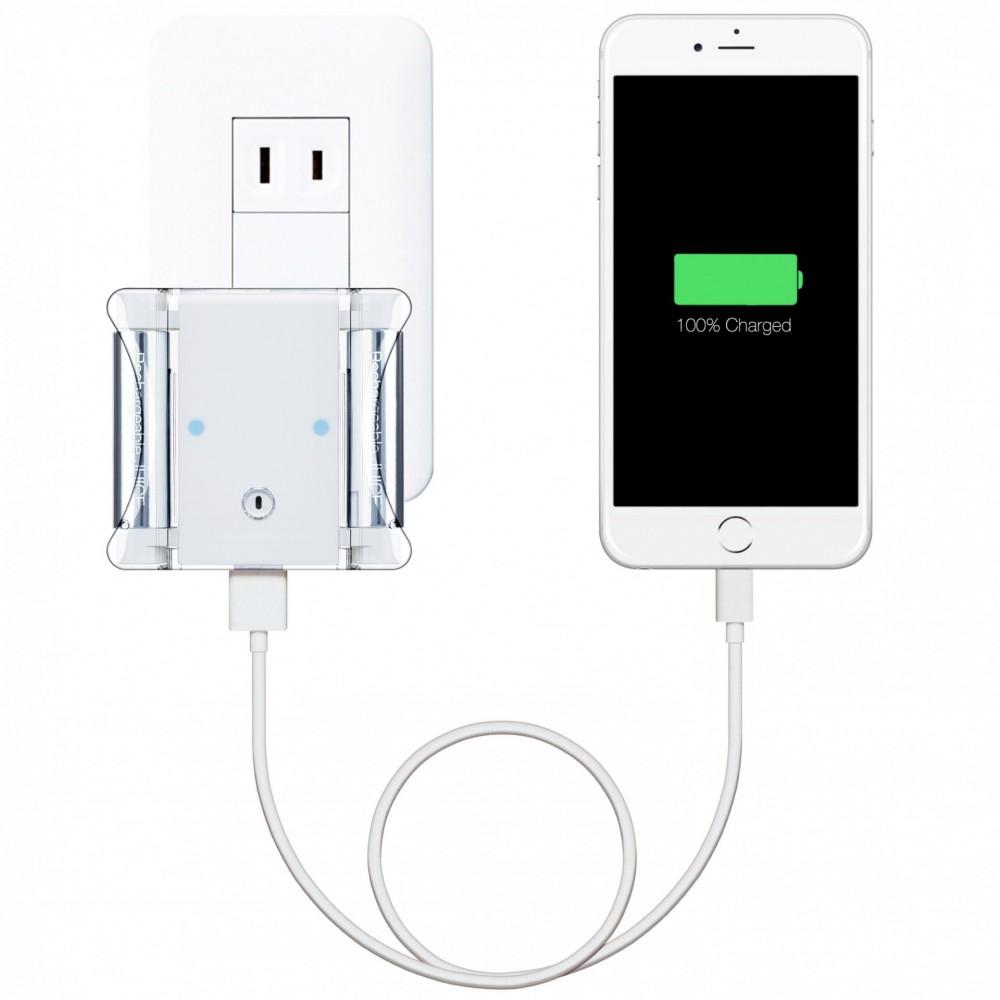 コンセントからiPhoneと電池を連続充電_電池